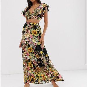 Two Piece Set ASOS Jungle Flower Print Maxi Skirt
